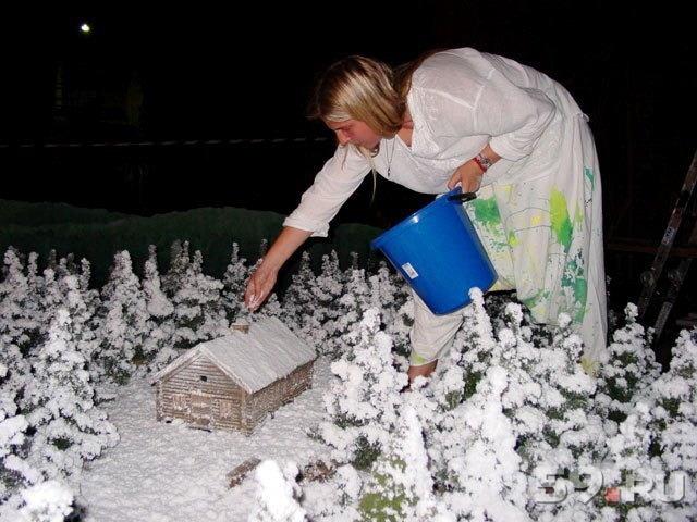 Из чего сделать снег на поделках 84