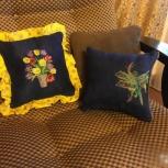 Подушка декоративная с вышивкой, Пермь
