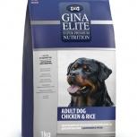 GINA Elite Dog Chiken&Rice корм для собак с Курицей и Рисом (NEW) 3 кг, Пермь