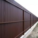 Забор из профнастила на винтовых сваях, Пермь