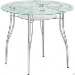 Метта стол стеклянный круглый  металлик, Пермь