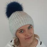 Вязаная шапка с помпоном из натурального меха, Пермь