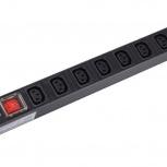 Блок розеток ITK 8 розеток С13 с LED выключателем 1U вход С14, Пермь