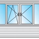 Балкон ПВХ Двустворчатые профиль 58мм стеклопакет 24мм, Пермь